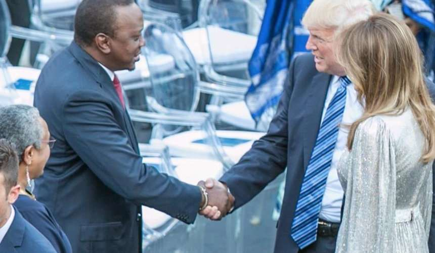 President Uhuru Kenyatta shakes hands with US President Donald Trump before a performance by the La Scala Philharmonic Orchestra in the ancient Greek theatre as part of the G7 Summit in Taormina, Sicily, Italy, May 26, 2017. /COURTESY