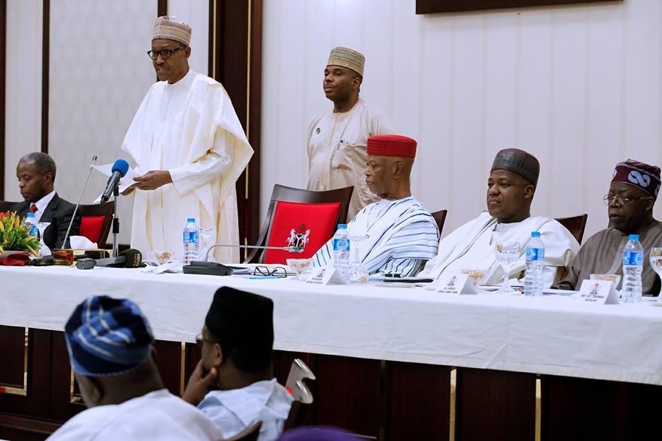 Buhari addressing APC Chieftains