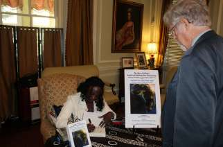 Amb Sanders at a book signing, much of her advocacy work is still centered around Africa