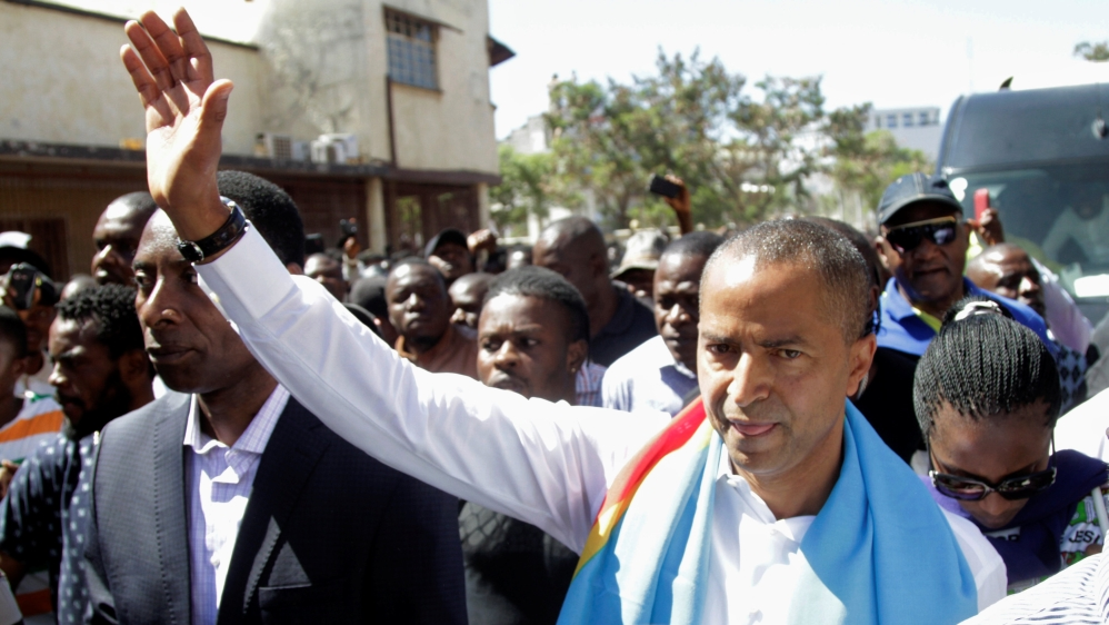 Nobody prevented him to leave the country, nobody will prevent him to come back, but nobody will interfere in the course of justice, because this is a problem between him, those who have grievance against him and the justice says Omalanga in regard to exiled opposition leader Moise Katumbi here pictured.