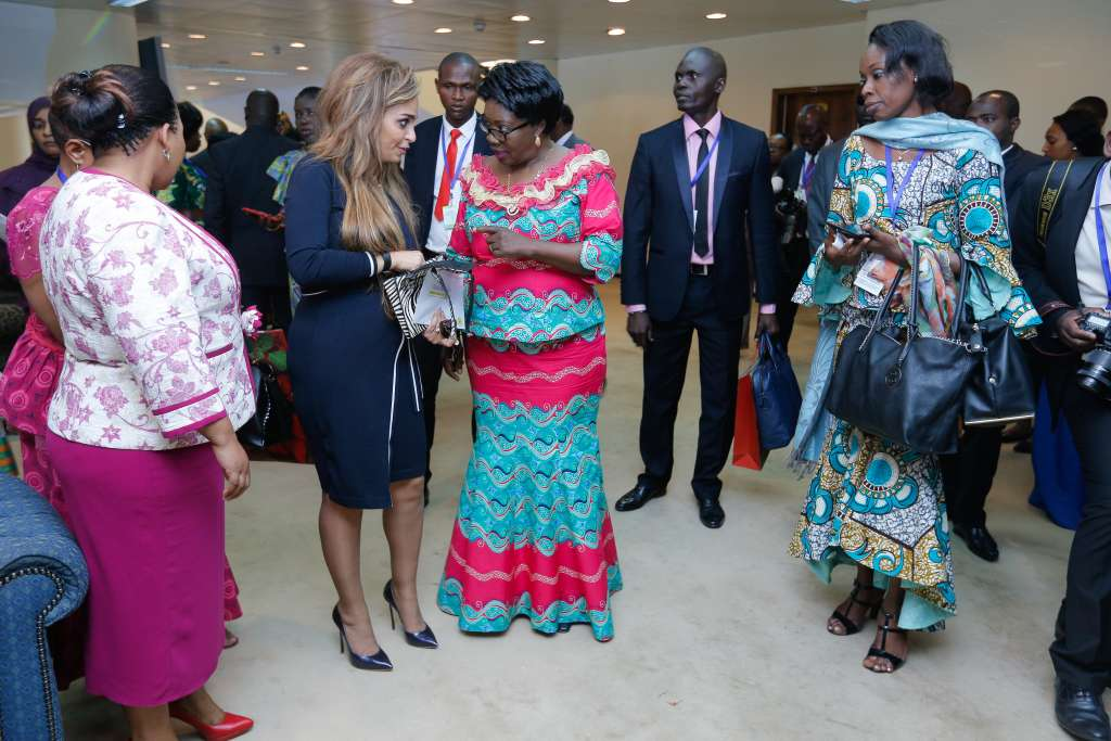First Lady of Central African Republic H.E. Madame Brigitte Touadera with Dr Rasha Kelej, CEO Merck Foundation