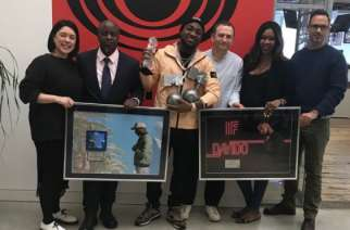 Davido at the Columbia Records office