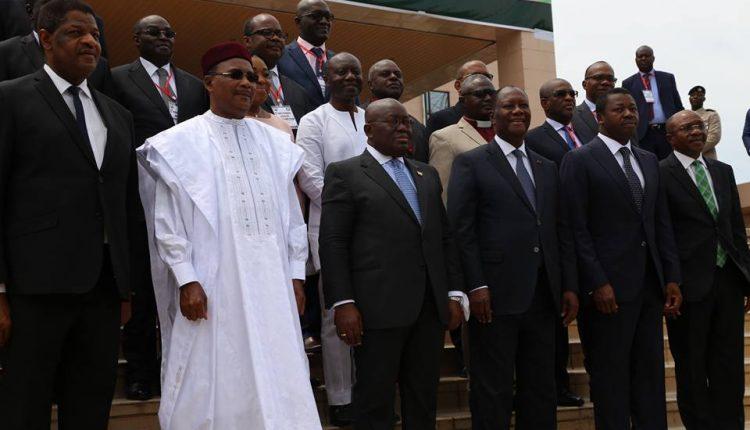 Ghana's President Nana Addo Dankwa Akufo-Addo flanked by other West African leaders