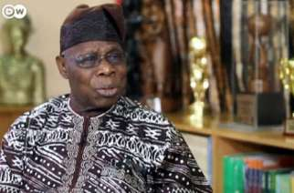 Former President Obasanjo during the interview with DW