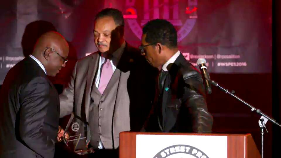 Rev. Jesse Jackson presenting award to Hon Okwasi Opong Fosu
