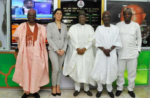 From left: Former Director General of the Nigerian Television Authority, Dr. Tonnie Iredia; the Executive Director, International Press Institute (IPI), Ms. Barbara Trionfi; Minister of Information and Culture, Alhaji Lai Mohammed; Chairman IPI Nigeria, Mallam Kabiru Yusuf and the Secretary IPI Nigeria, Mr. Raheem Adedoyin, during a courtesy visit to the Minister in Abuja on Thursday