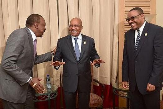 FROM LEFT: President Uhuru Kenyata, former President Jacob Zuma and former Prime Minister Hailemariam