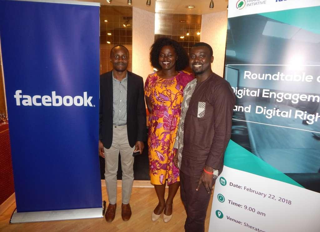 Tolu Ogunlesi (PODE), Akua Gyeke (Facebook) and 'Gbenga Sesan (Paradigm Initiative)