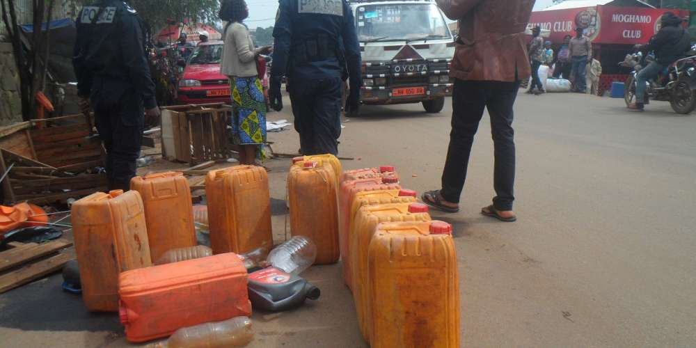 Fuel being sold on the streets of Bamenda, Cameroon. Credit: Mbom Sixtus.