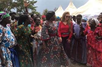Dr.Rasha Kelej, CEO Merck Foundation and Hon. Sarah Opendi, Minister of State of Health, Uganda with 'Merck More Than a Mother' Heroines