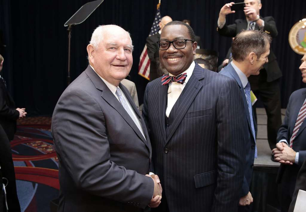 Akinwumi Adesina, President of the African Development Bank and Sonny Perdue, Secretary of Agriculture