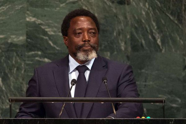 File Picture.DR Congo President Joseph Kabila Kabange addresses the 72nd Session of the United Nations General assembly at the UN headquarters in New York on September 23, 2017. He deserves credit for making the D.R.Congo a country says Information Minister Omalanga