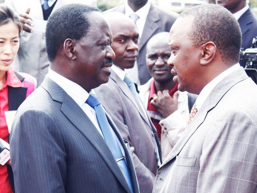 Nasa leader Raila Odinga with president Uhuru Kenyatta