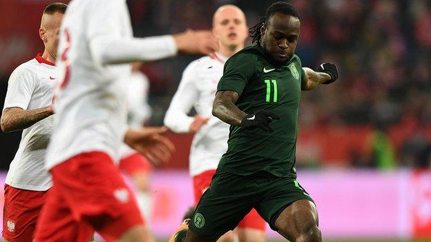 Nigeria's Victor Moses scored during the international friendly football match against Poland