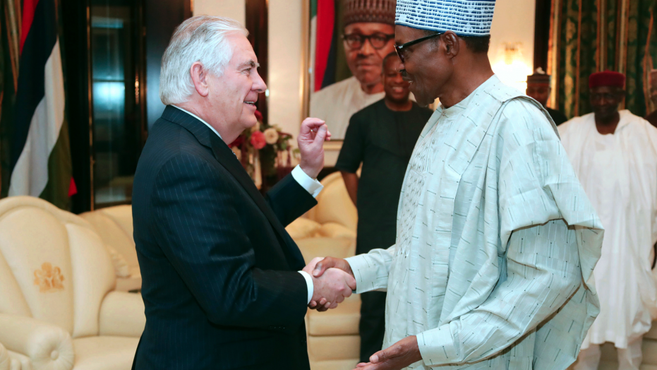 Former Secretary of State Tillerson with President Buhari of Nigeria