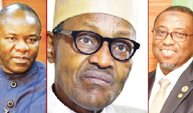 Top Managers of the Oil Industry in Nigeria ,Petroleum Minister Kachikwu, President Buhari ,and Managing Director NNPC Baru