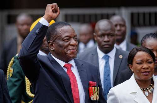 Emmerson Mnangagwa arrives for his inauguration as Zimbabwe's president after Robert Mugabe resigned following a military takeover. November 24, 2017. (AP)
