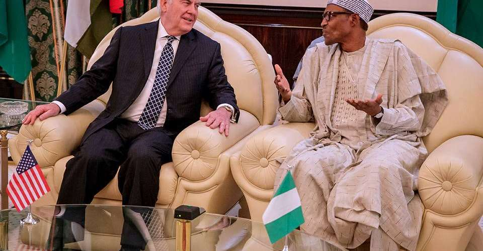 Nigeria's President Buhari and U.S Secretary of State Rex Tillerson in Abuja