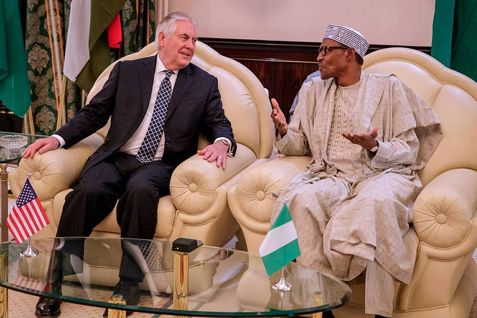 Nigeria's President Buhari and U.S Secretary of State Rex Tillerson in Abuja