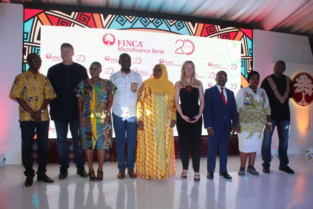 From Left to right: Board Chairman, FINCA, Mike Gama-Lobo; Chief Executive Officer, FINCA Microfinance Bank, Tanzania, Issa Ngwegwe; Board member, FINCA Tanzania, Monica Joseph; Deputy Permanent Secretary, Ministry of finance and planning, Ms. Amina Shabaan; President and CEO, FINCA Impact Finance, Andree Simon; Deputy Governor, Bank of Tanzania, Financial Stability and Deepening, Dr. Bernard Kibesse; Principal Economist, Ministry of finance and planning, Deonisia Mjema; Board member, FINCA Tanzania, Kelvin Twisa (1)