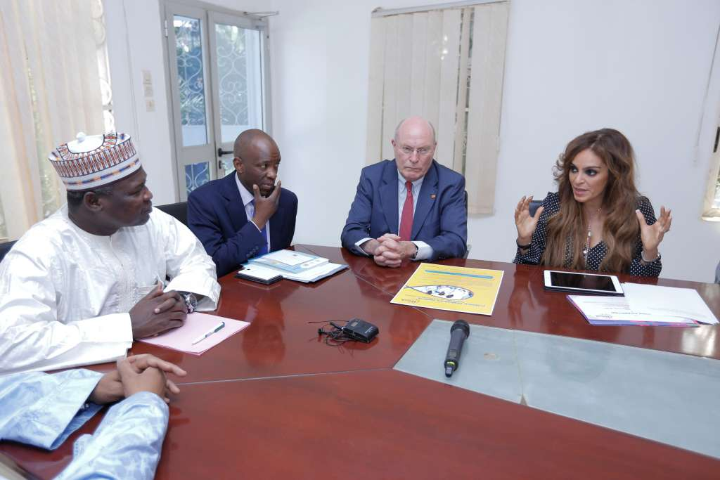 (L-R) Hon. Dr. Idi Illiassou Mainassara, Minister of Public Health for Niger, Prof. Frank Stangenberg-Haverkamp, Chairman of the Executive Board of E.Merck KG and the Chairman of Merck Foundation Board of Trustees and Dr. Rasha Kelej, the CEO of Merck Foundation discussing Merck Foundation's long-term commitment to building healthcare capacity in Niger
