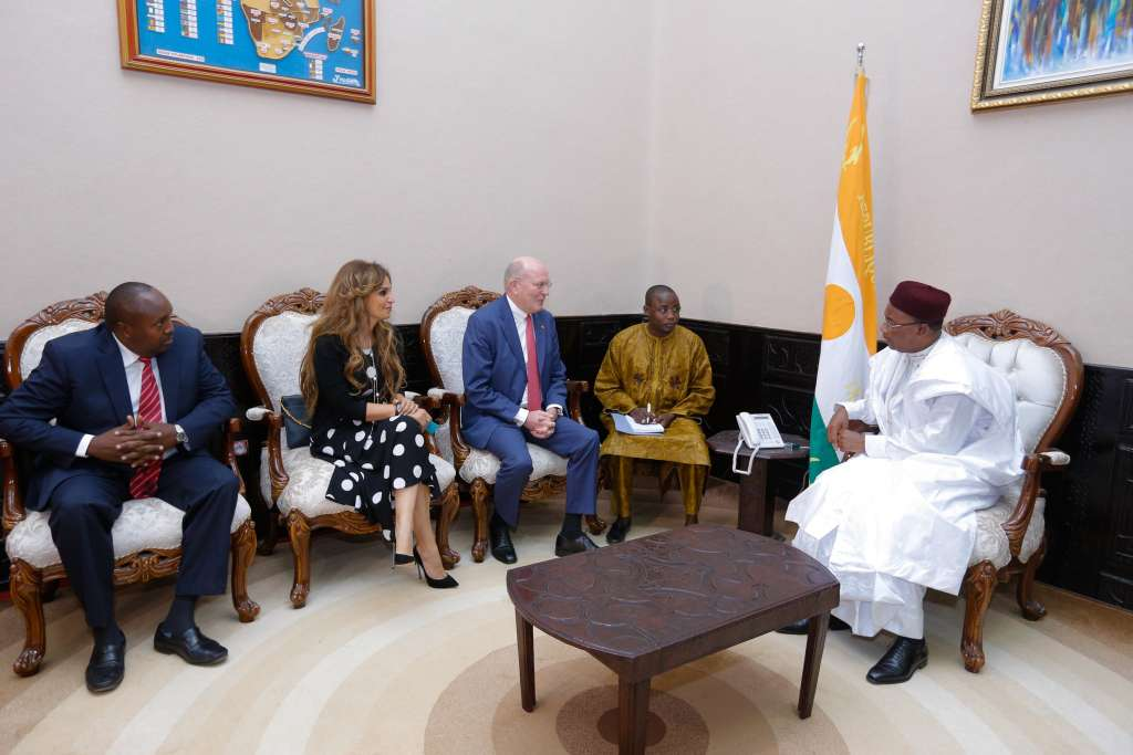 L-R) Dr. Rasha Kelej, the CEO of Merck Foundation, Prof. Frank Stangenberg-Haverkamp, Chairman of the Executive Board of E.Merck KG and the Chairman of Merck Foundation Board of Trustees discussed long-term commitment to healthcare capacity building with the President of Niger H.E. Mahamadou Issoufou