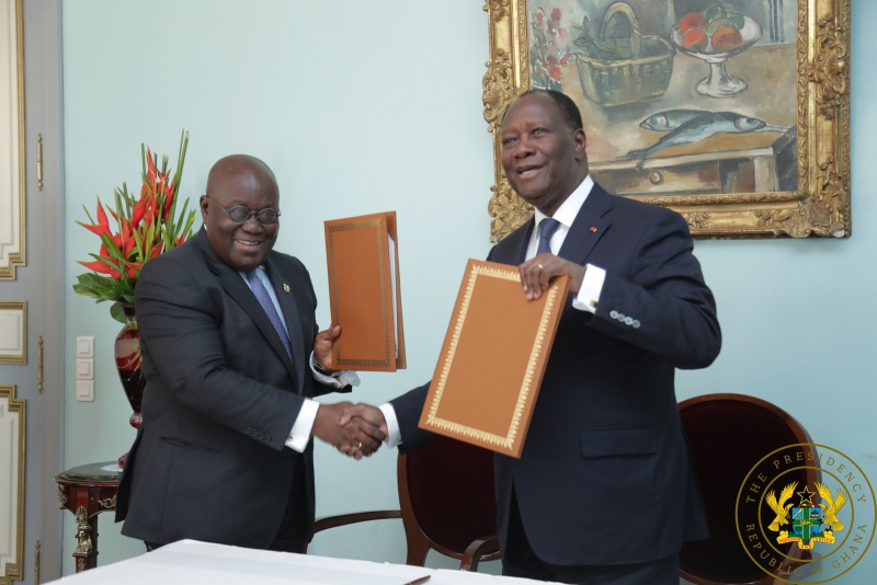 President Akufo Addo and President Ouattara after the signing of the Declaration