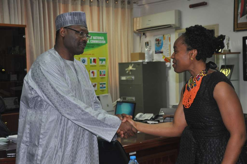 Professor Mahmood Yakubu, Chairman at INEC, meeting with Ebele Okobi, Public Policy Director for Afrika at Facebook.