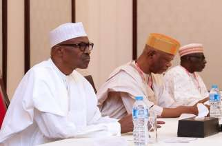 President Buhari and APC Chairman John Oyegun