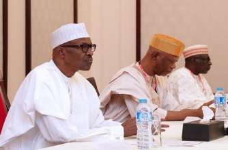 President Buhari and APC Chairman John Oyegun