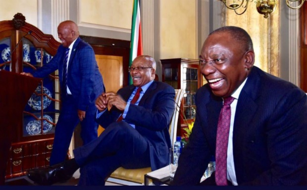Minister in the Presidency Jeff Radebe, former president Jacob Zuma and President Cyril Ramaphosa share a laugh at Zuma's farewell cocktail function