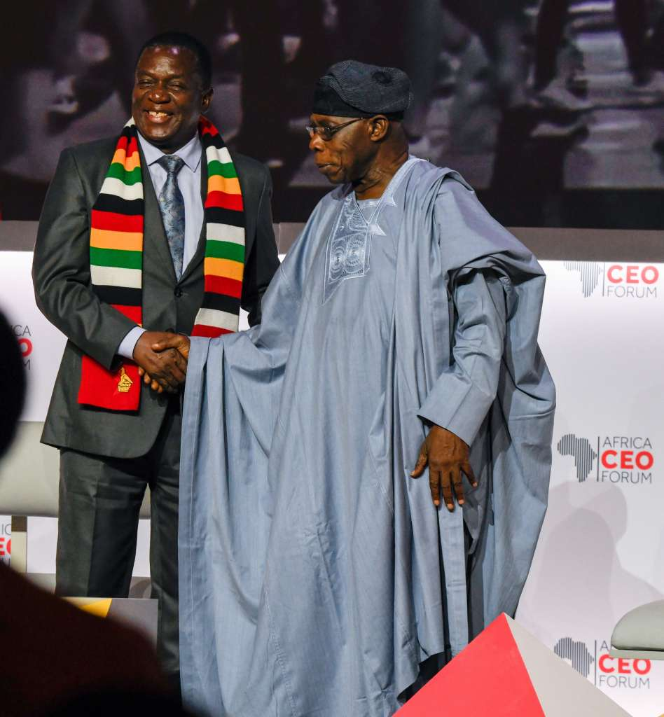 The President of Zimbabwe, Emmerson Mnangagwa and former President of Nigeria_ Olusegun Obasanjo