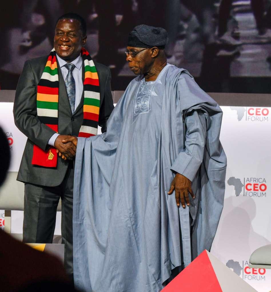 The President of Zimbabwe, Emmerson Mnangagwa and former President of Nigeria_ Olusegun Obasanjo