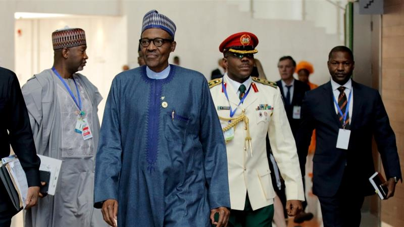 Nigeria's President Muhammadu Buhari arrives for the 30th Ordinary Session of the Assembly of the Heads of State and Government of the African Union in Addis Ababa, Ethiopia January 28, 2018 [Photo/Tiksa Negeri/Reuters]