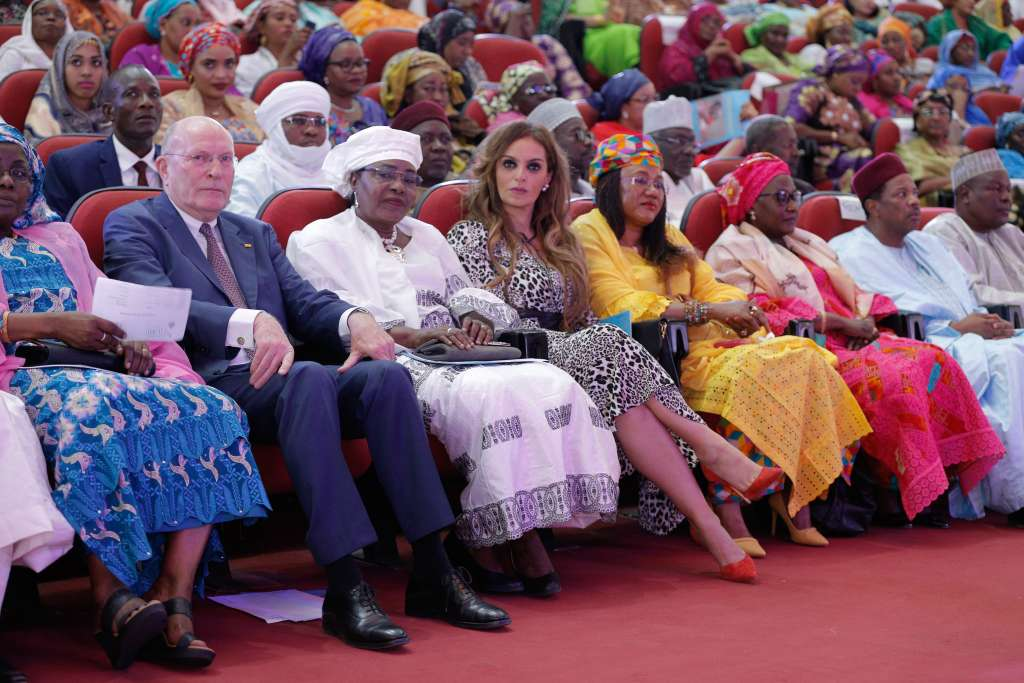 L-R) Prof. Frank Stangenberg-Haverkamp, Chairman of the Executive Board of E.Merck KG and the Chairman of Merck Foundation Board of Trustees, Her Excellency, the First Lady of Niger, H.E. Mrs. Aissata Issoufou Mahamadou and Dr. Rasha Kelej, the CEO of Merck Foundation