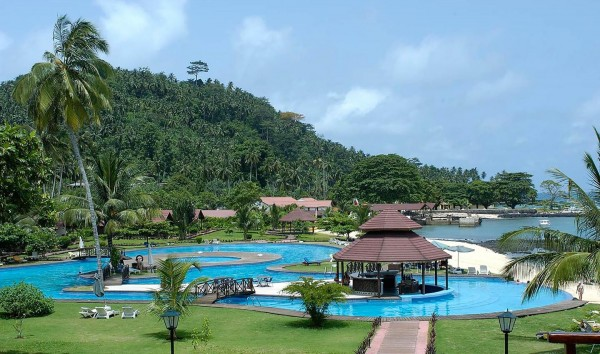 a picture of one of the many beach resorts in Sao Tome and Principe