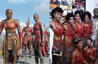 Black Panther (left). The cast of 'Fela Kuti and the Kalakuta Queens' (right).