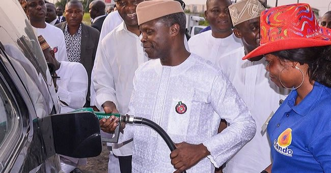 Vice President Osinbajo at a fuel station