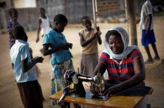 A female ex-combatant sews in South Sudan. Credit: UNDP South Sudan/Brian Sokol