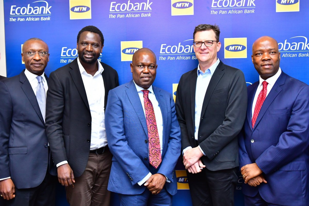 (L-R) Charles Kie, Managing Director, Ecobank Nigeria Ltd; Serigne Dioum, MTN's Executive, Mobile Financial Services; Ade Ayeyemi, Group CEO, Ecobank Transnational Incorporated (ETI), Rob Shuter, group CEO of MTN and Patrick Akinwuntan, Group Executive, Ecobank Transnational Incorporated (ETI)