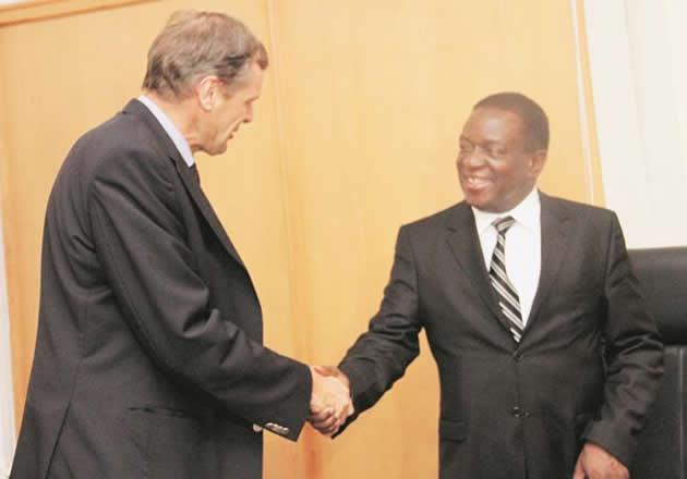 President Emmerson Mnangagwa with  Phillipe van Damme, Ambassador - Head of delegation of the European Union to Zimbabwe