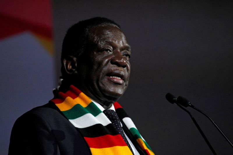 FILE PHOTO: Zimbabwe's president, Emmerson Mnangagwa, speaks during Africa CEO Forum at the Sofitel Hotel Ivoire in Abidjan, Ivory Coast March 26, 2018. REUTERS/Luc Gnago/File Photo