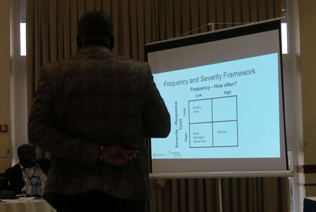 An early discussion on pathogen selection for the ARC Outbreak and Epidemic Pilot Programme. Ebola, Marburg, Meningitis, and Lassa Fever were ultimately selected. Photo: African Risk Capacity