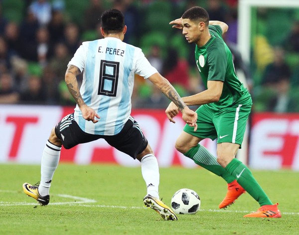 Enzo Perez of Argentina vies for the ball with Leon Balogun of Nigeria during the International Friendly Match between Argentina and Nigeria at Krasnodar Stadium on November 14, 2017 in Krasnodar, Russia.