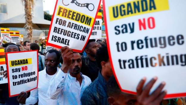 Protests have been held in Israel to oppose a deal to forcibly move Africans to Uganda