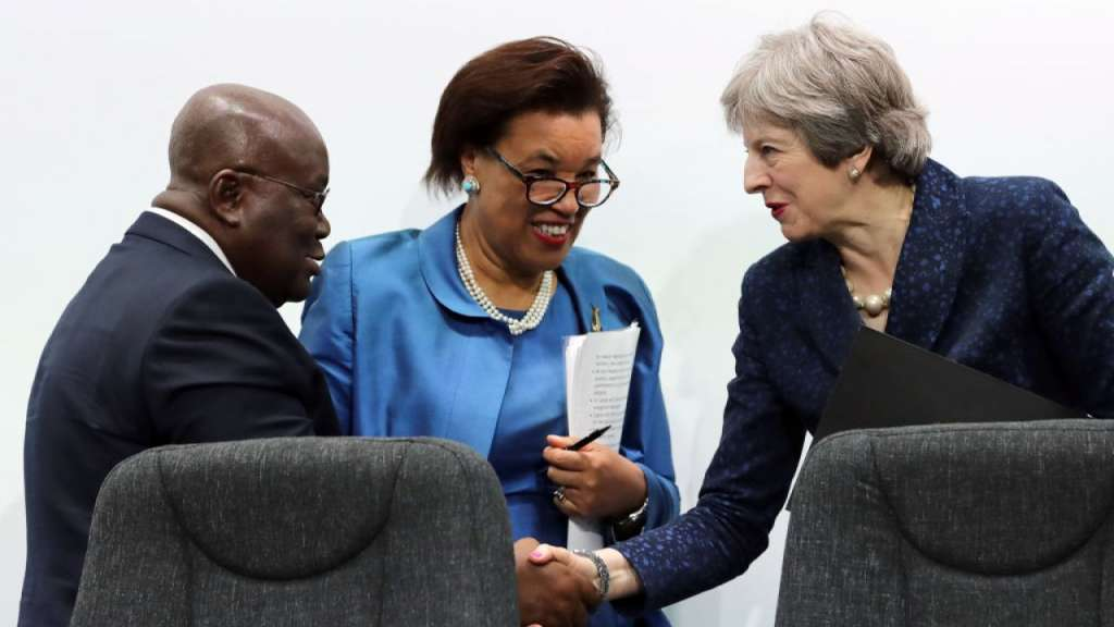 LONDON, ENGLAND - APRIL 20:  President of Ghana, Nana Akufo-Addo bids farewell to British Prime Minister Theresa May after taking part in the final press conference of CHOGM 2018 at Marlborough House on April 20, 2018 in London, England.  (Photo by Dan Kitwood/Getty Images)