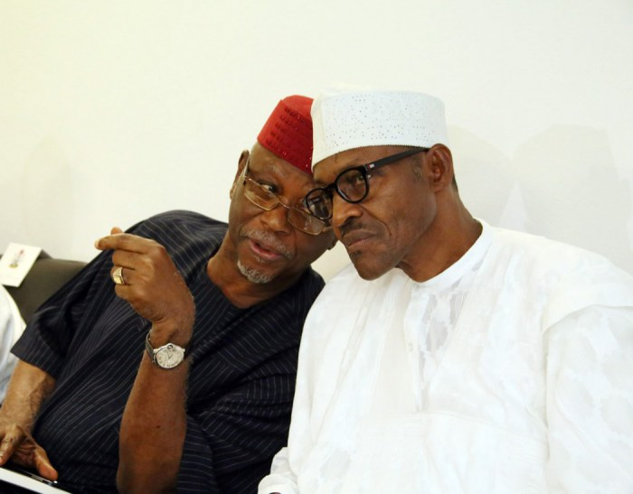 All Progressives Congress (APC) Chairman, Chief John Odigie-Oyegun pictured with President Muhammadu Buhari