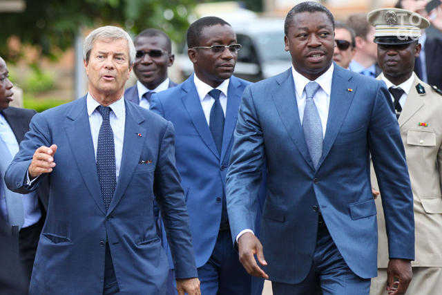 Vincent Bollore in Togo with President Faure Gnassingbe