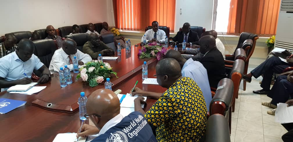Minister of Health, Dr Riek Gai Kok and WHO Representative a.i.for South Sudan, Mr Evans Liyosi addressing a joint press conference in Juba.