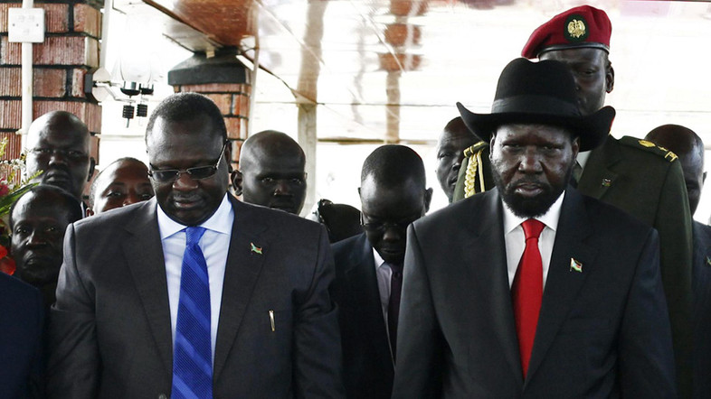 South Sudan's then Vice-President Riek Machar (L) and President Salva Kiir seen together in Juba in this July 9, 2013 file photo. (Reuters)